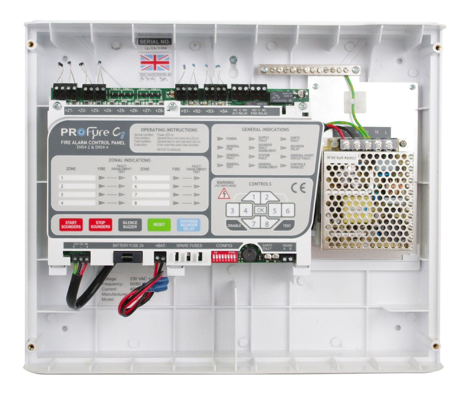 C8-6 ProFyre 6 Zone Conventional Fire Alarm Panel